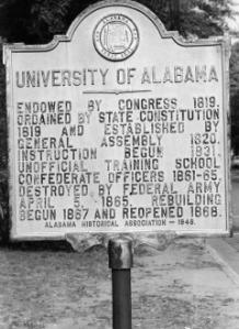 University Of Alabama At Tuscaloosa Posted Sign
