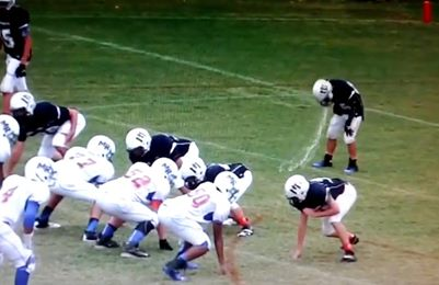 An eighth-grade LB throws up on the field twice