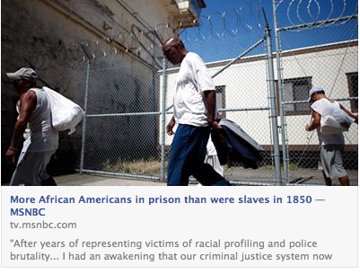 more African-Americans in prison than were enslaved in the USA in 1850.
