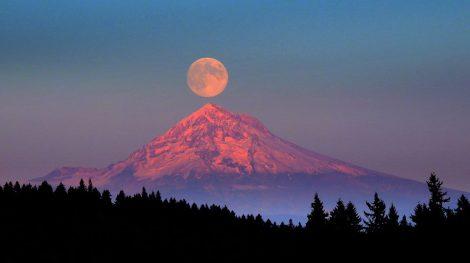 Full moon rising over Mt. Hood