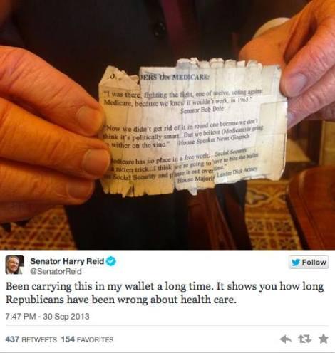 Harry Reid tweets: