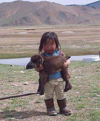 Cute Kid and Pet